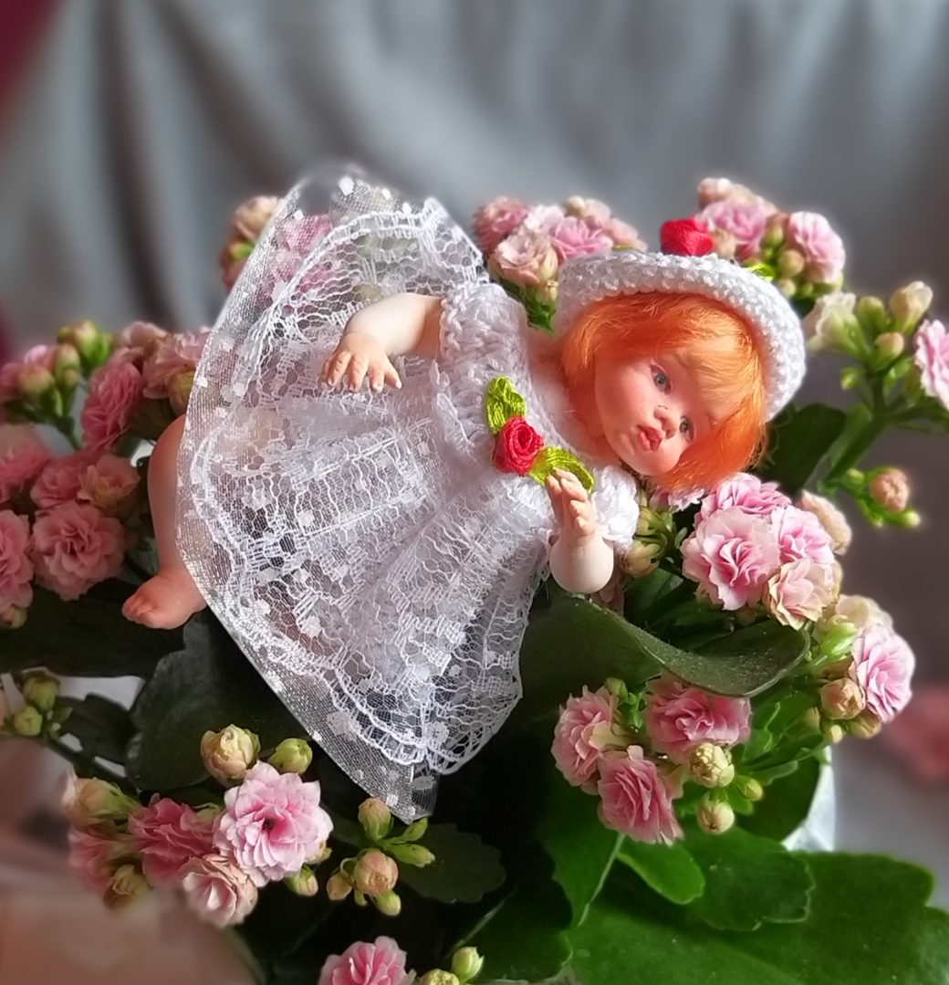 Art doll OOAK red hair mini reborn 4.7 Gloria