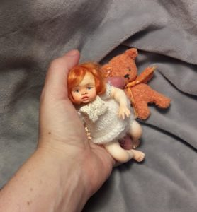 OOAK mini reborn red hair