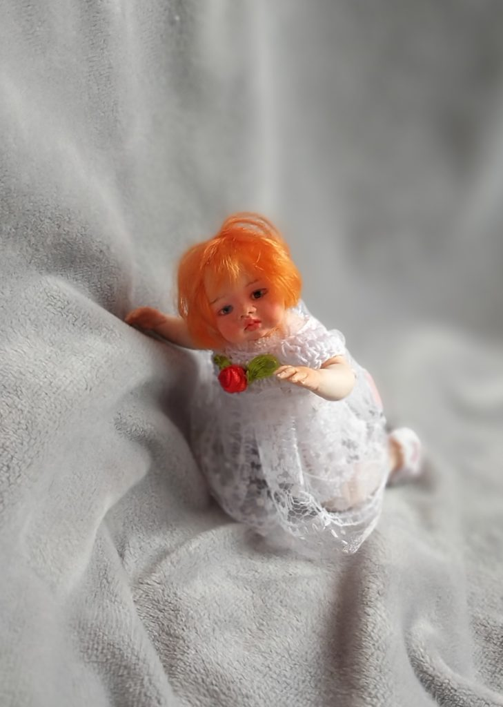 Art doll OOAK red hair mini reborn 4.7 Gloria