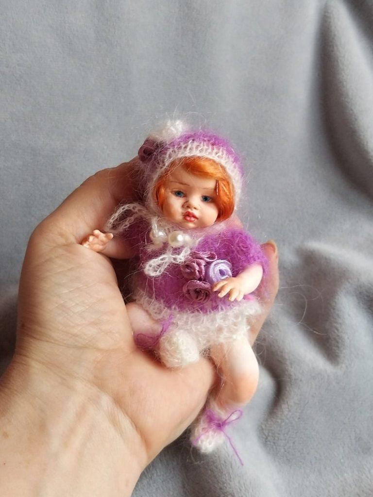 red hair art doll handmade knitted dress