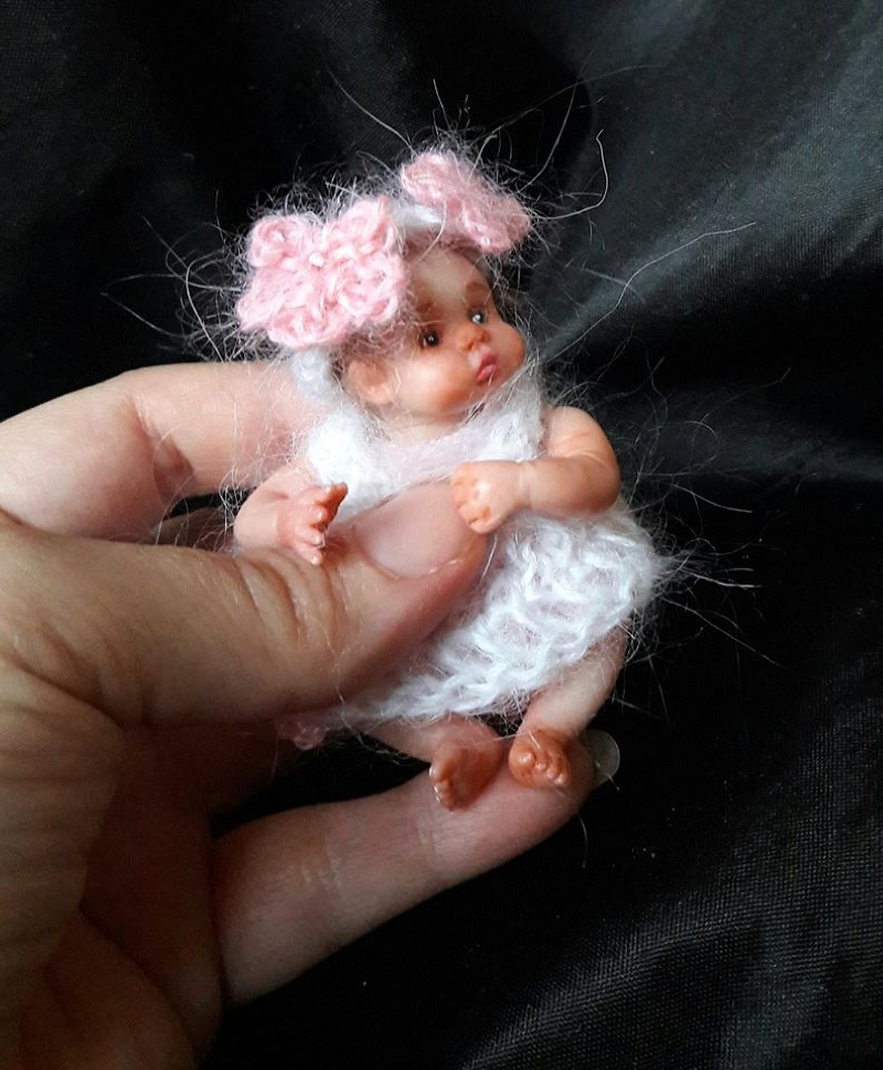 Handmade Mini polymer clay baby doll by Kovalevadoll