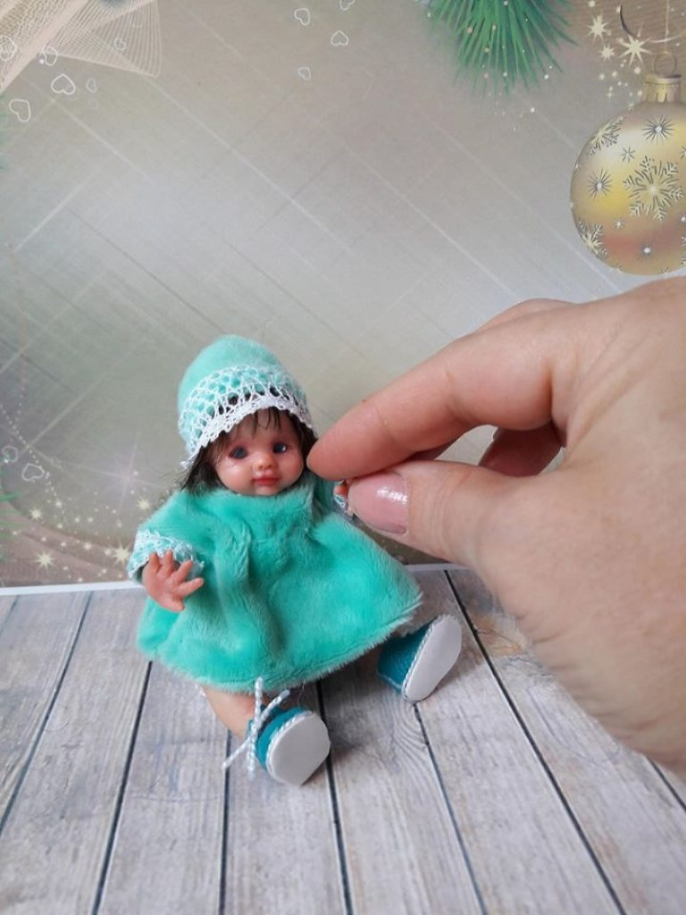 art Mini polymer clay baby doll by Kovalevadoll