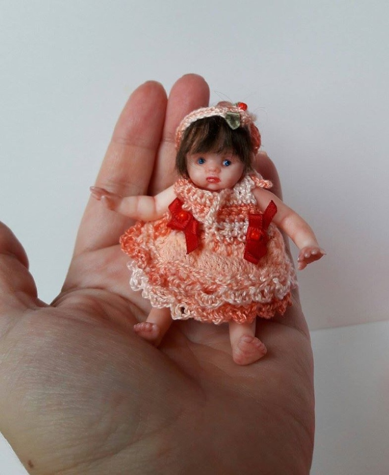 dollhouse doll Mini polymer clay baby doll by Kovalevadoll