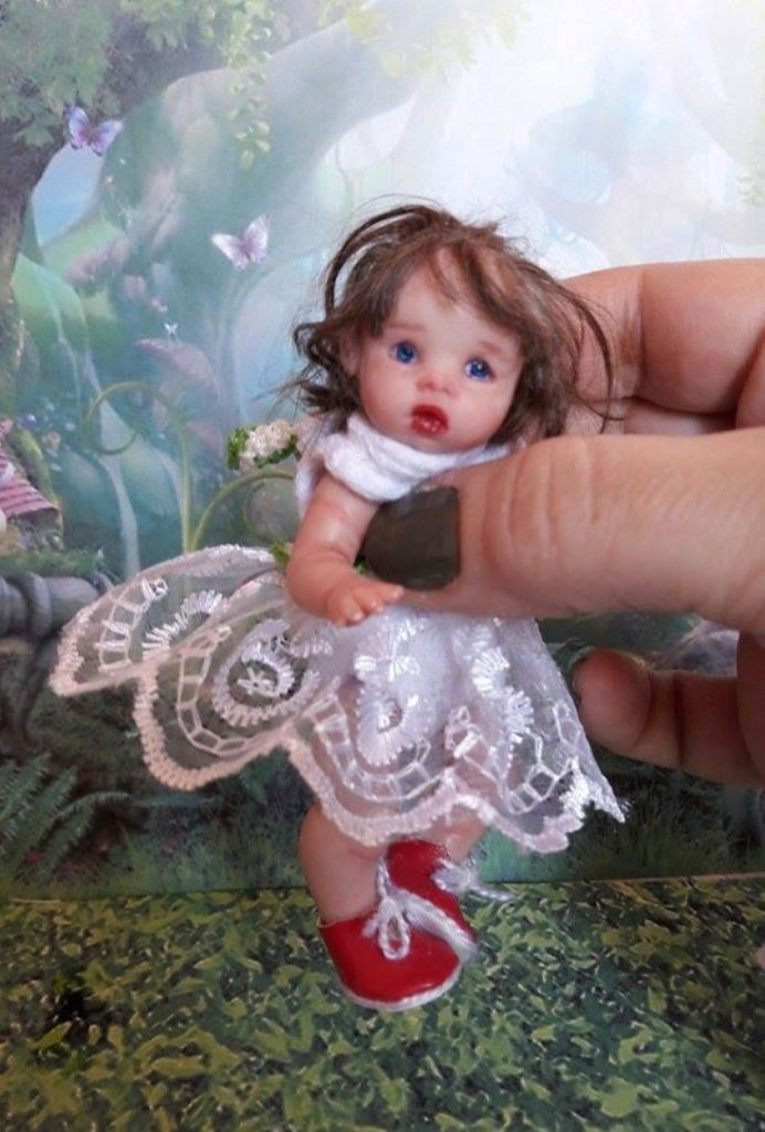Mini reborn polymer clay baby doll by Kovalevadoll