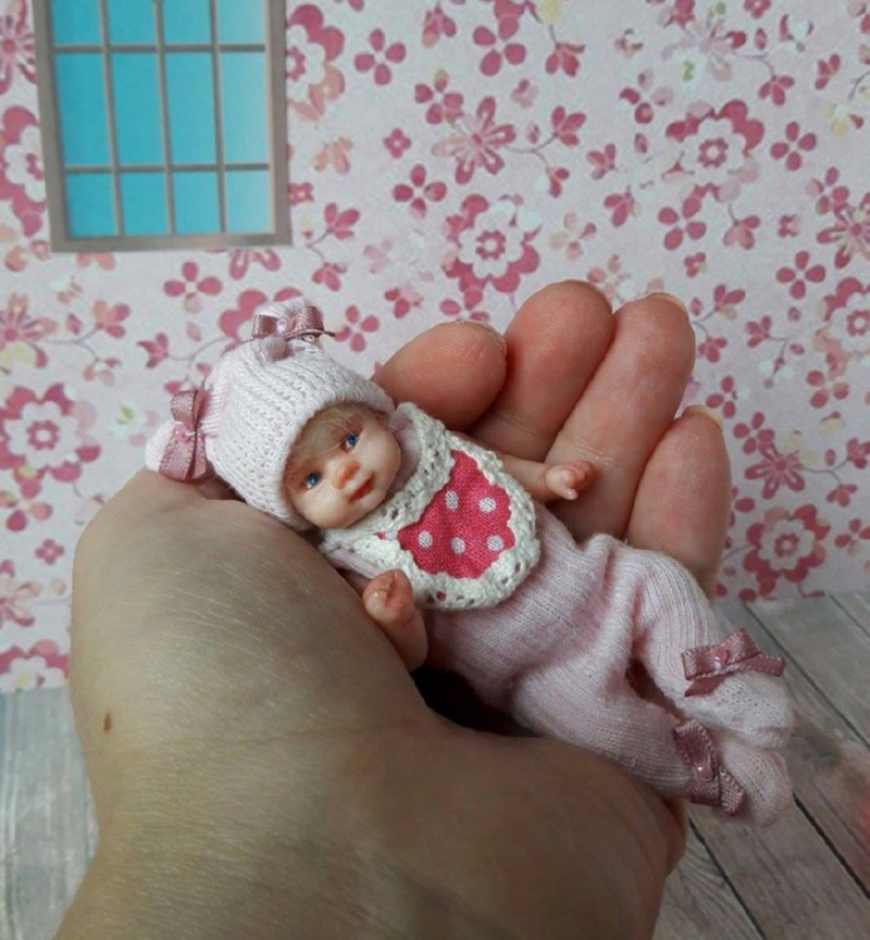 Miniature polymer clay baby doll by Kovalevadoll