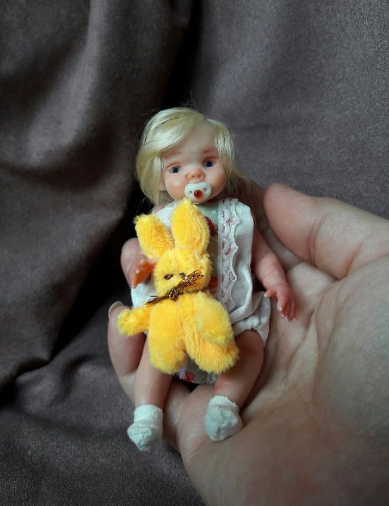Unigue mini polymer clay baby doll by Kovalevadoll