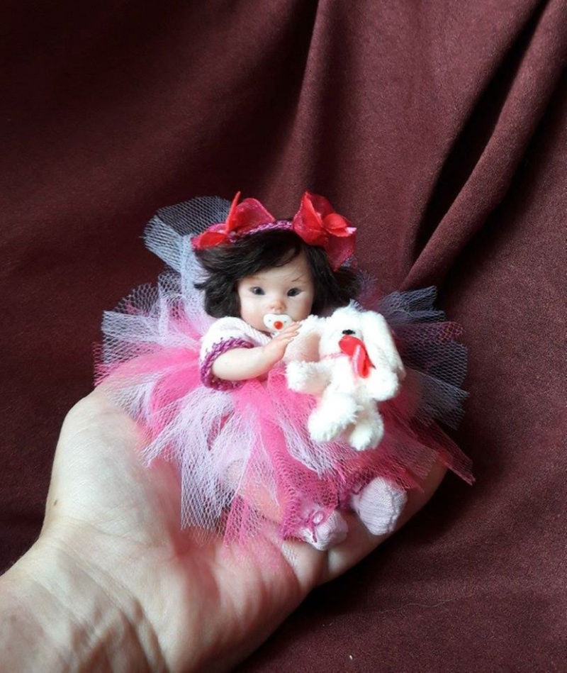 dollartist Mini polymer clay baby doll by Kovalevadoll