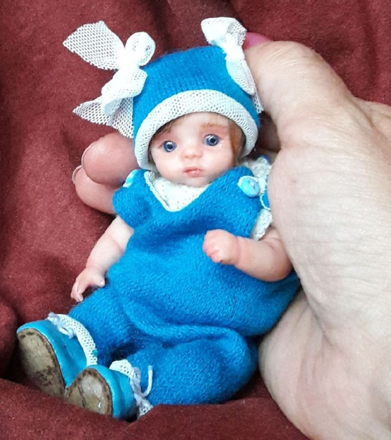 Collectible Mini polymer clay baby doll by Kovalevadoll