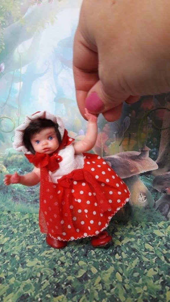 Art dolls mini polymer clay baby doll by Kovalevadoll