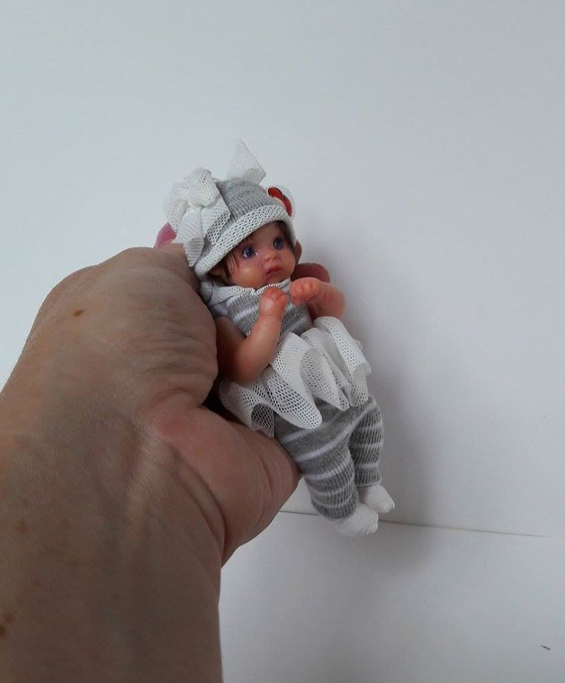 OOAK tiny polymer clay baby doll by Kovalevadoll