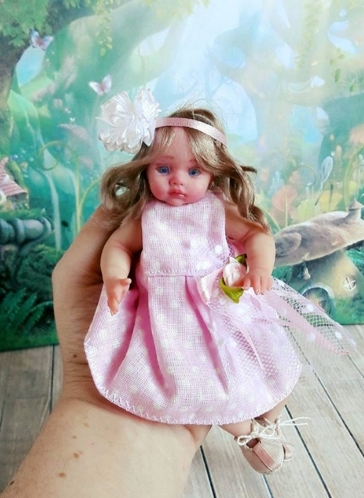 Mini polymer clay baby doll by Kovalevadoll