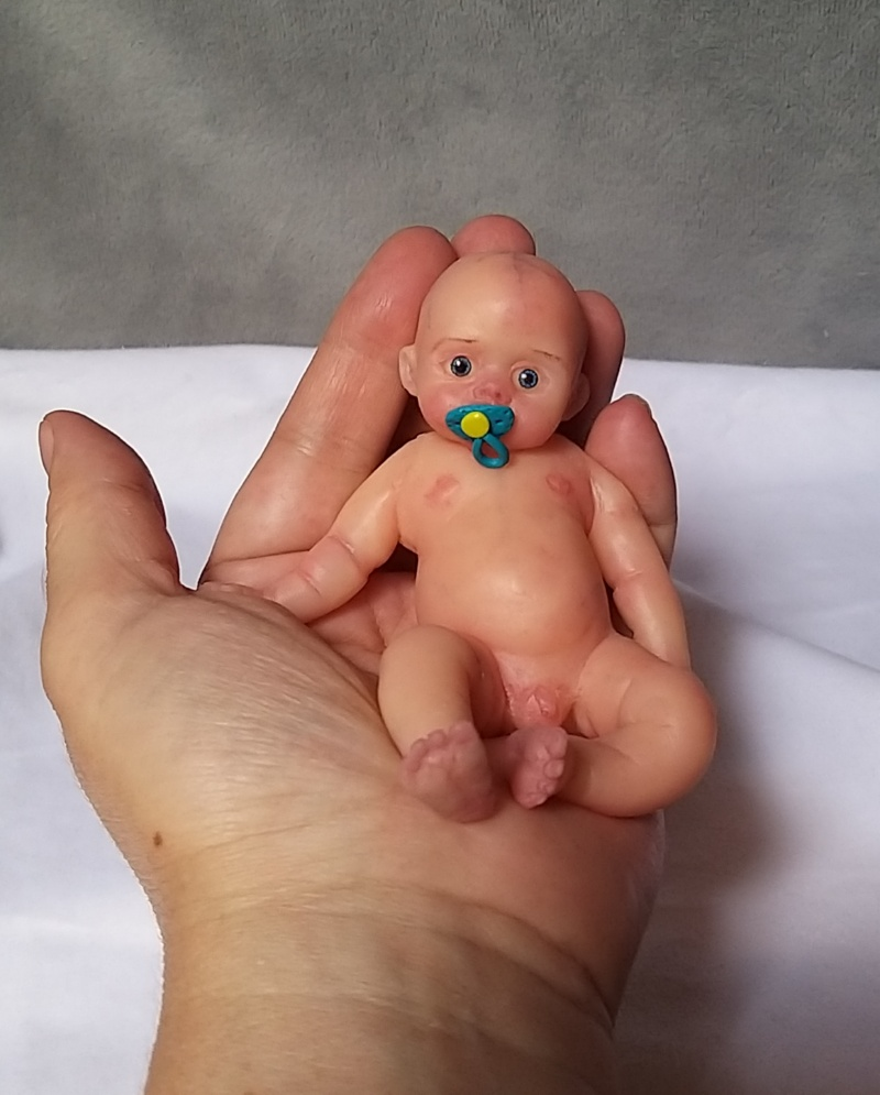 l Mini silicone baby boy full body Oliver 4.7  dark eyes open open mouth with pacifier bottle babies doll mini reborn doll11