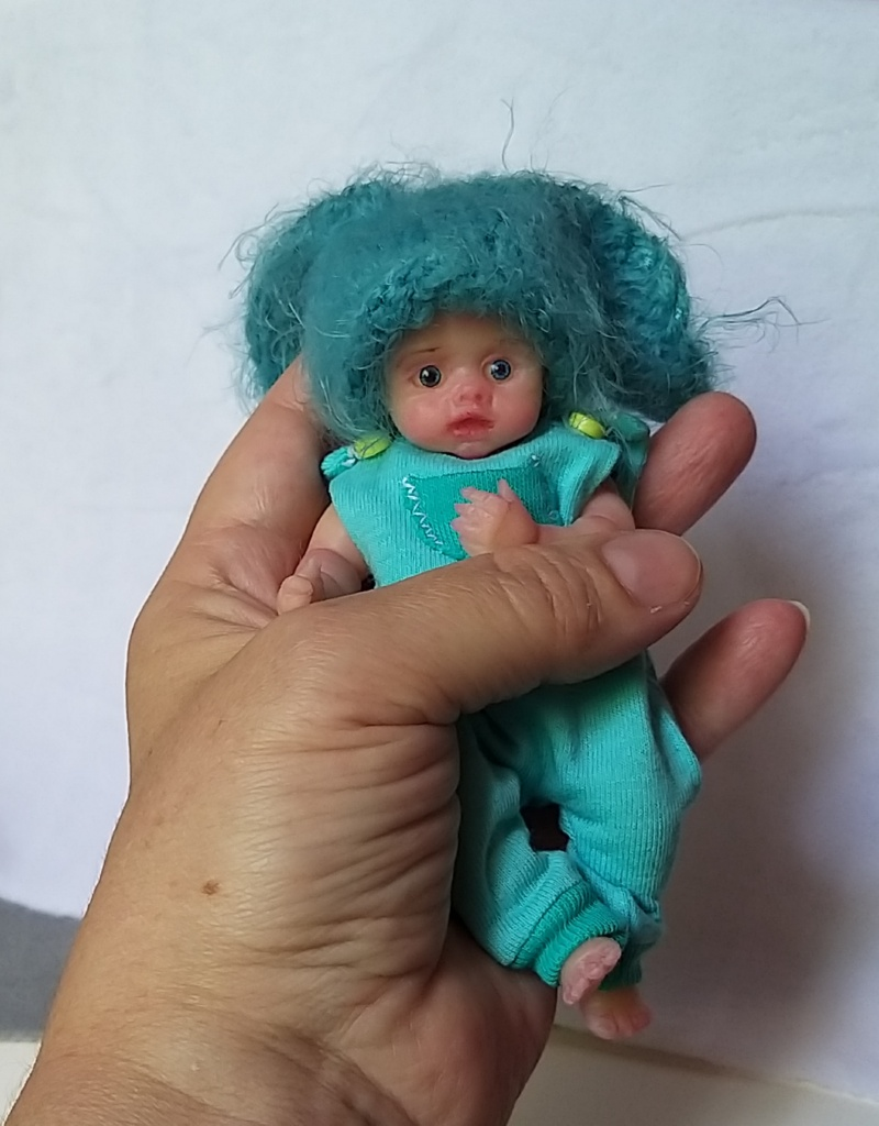 l Mini silicone baby boy full body Oliver 4.7  dark eyes open open mouth with pacifier bottle babies doll mini reborn doll21