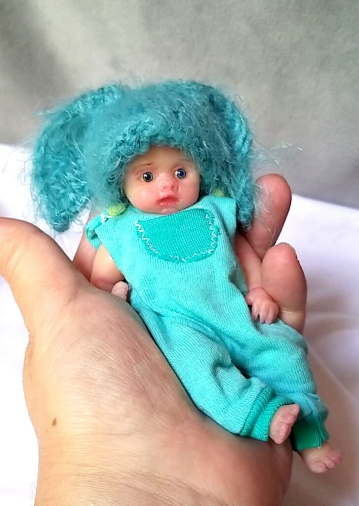 l Mini silicone baby boy full body Oliver 4.7  dark eyes open open mouth with pacifier bottle babies doll mini reborn doll26