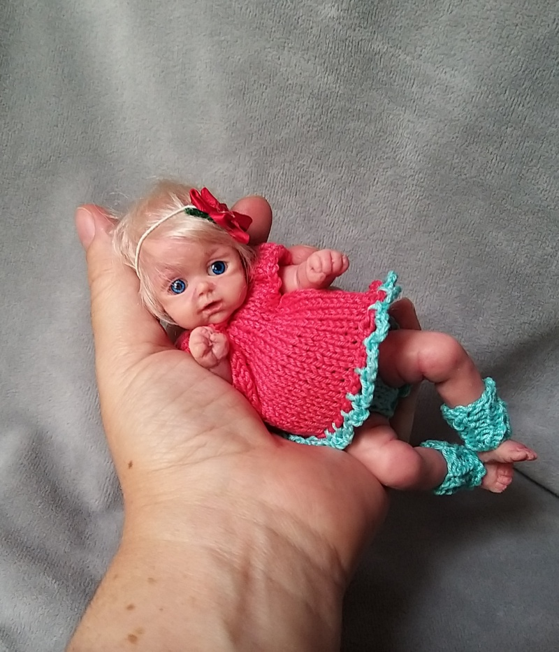 l Mini silicone baby girl Katy 6 inch dark eyes open open mouth with pacifier bottle babies doll mini reborn doll07