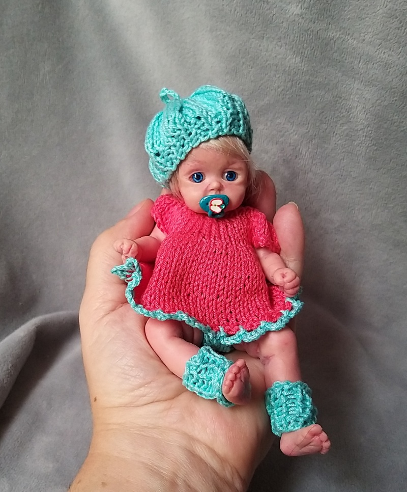 l Mini silicone baby girl Katy 6 inch dark eyes open open mouth with pacifier bottle babies doll mini reborn doll12