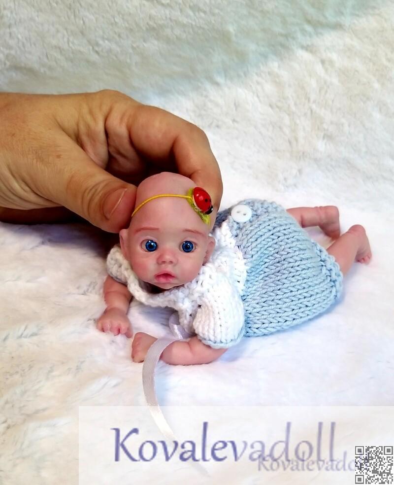 Cutest Silicone Reborn baby Mia 6 inch artist Kovaleva Natalya