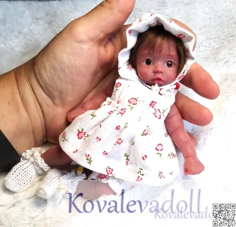 Afro americano mini silicone baby dolls Mia 6 inch by Kovalevadoll Kovaleva Natalya02