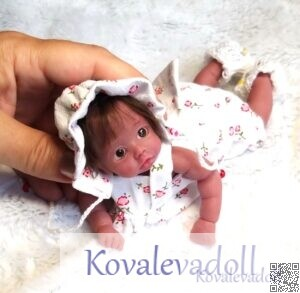 Afro americano mini silicone baby dolls Mia 6 inch by Kovalevadoll Kovaleva Natalya14