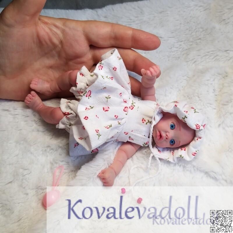 Cute mini silicone baby dolls Mia 6 inch by Kovalevadoll Kovaleva Natalya09